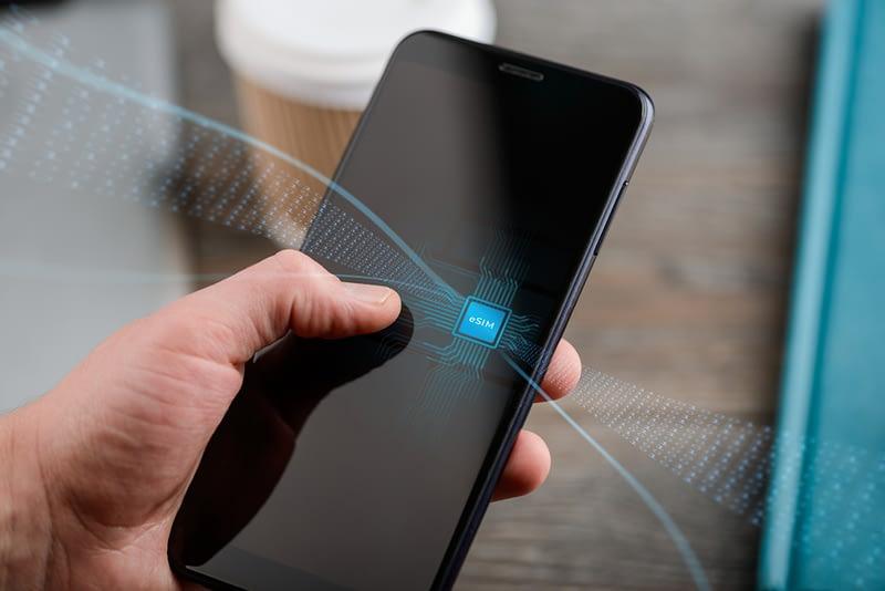 eSIM visual, smartphone handset with data sending and recieving