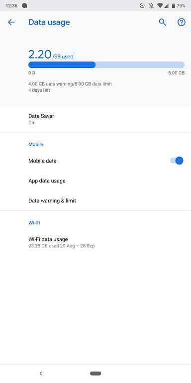 Android data use - screenshot